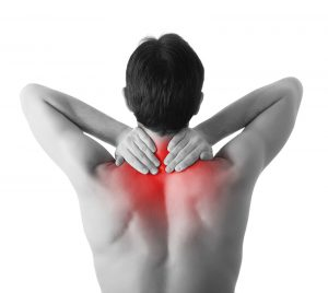 Man with neck or upper back pain.