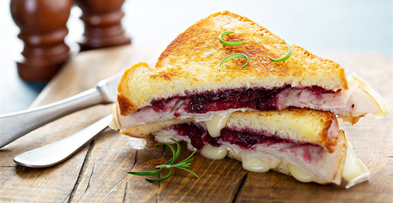 Got to love a leftover turkey, grilled cheese and cranberry sauce sandwich!