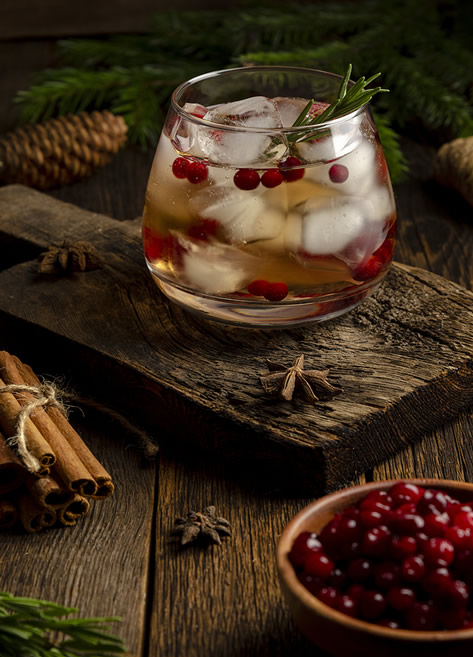 Sparkling cranberry mocktail— a fun drink without the alcohol hit.
